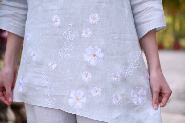 Sky Blue Asymmetrical Linen Tunic With Floral Embroidery