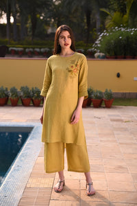 Lime Green Linen Tunic With Floral Hand Embroidery & Detailing On The Sleeves