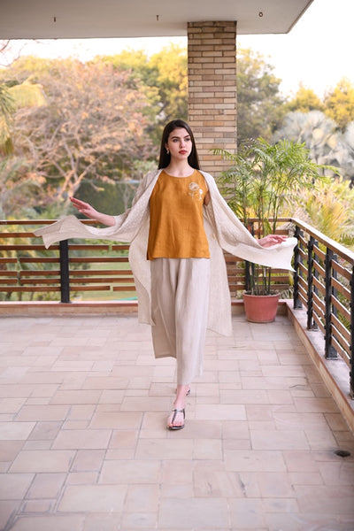 Beige Wide Linen Pants With Pleats And Elasticated Back