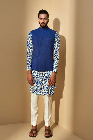 Cobalt Blue Three Panel Jawahar Jacket
