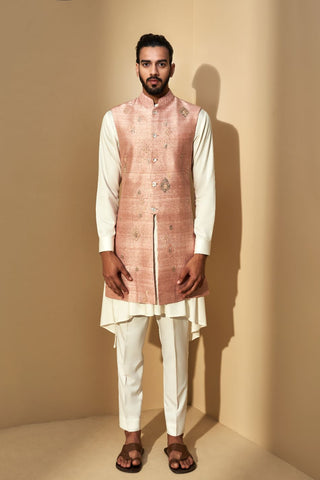 Sand Rose Embroidered Long Jacket With Silk Kurta And Payjama