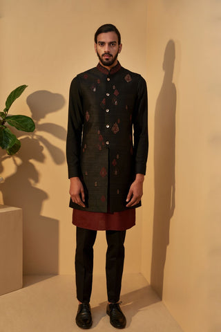 Black Embroidered Jawahar Jacket With Black Ombre Kurta And Payjama