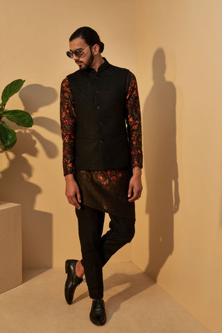 Black Embroidered Silk Jawahar Jacket