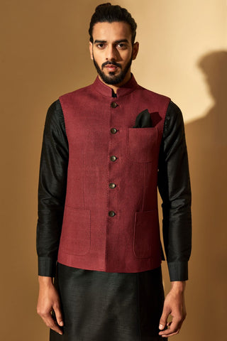 Beetlenut Silk Jawahar Jacket With Patch Pockets