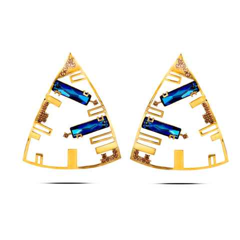 Blue In Yellow-Gold Brass & Swarovski Triangle Earrings
