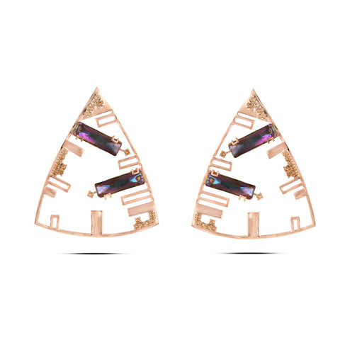 Purple In Rose-Gold Brass & Swarovski Triangle Earrings