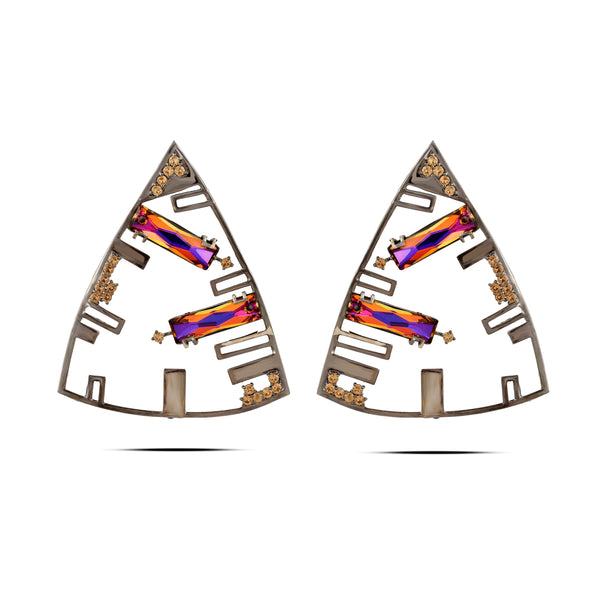 Multi Color In Gunmetal Brass & Swarovski Triangle Earrings