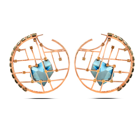 Blue In Rose-Gold Brass & Swarovski Earrings