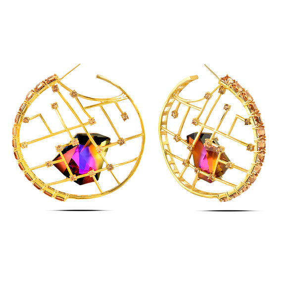 Multi Color In Yellow-Gold Brass & Swarovski Earrings