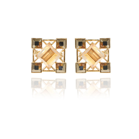 Metallic Grey & Gold Yangko Swarovski Cufflinks
