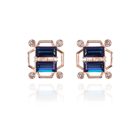 Blue-Purple Tap Swarovski Baguette Cufflinks