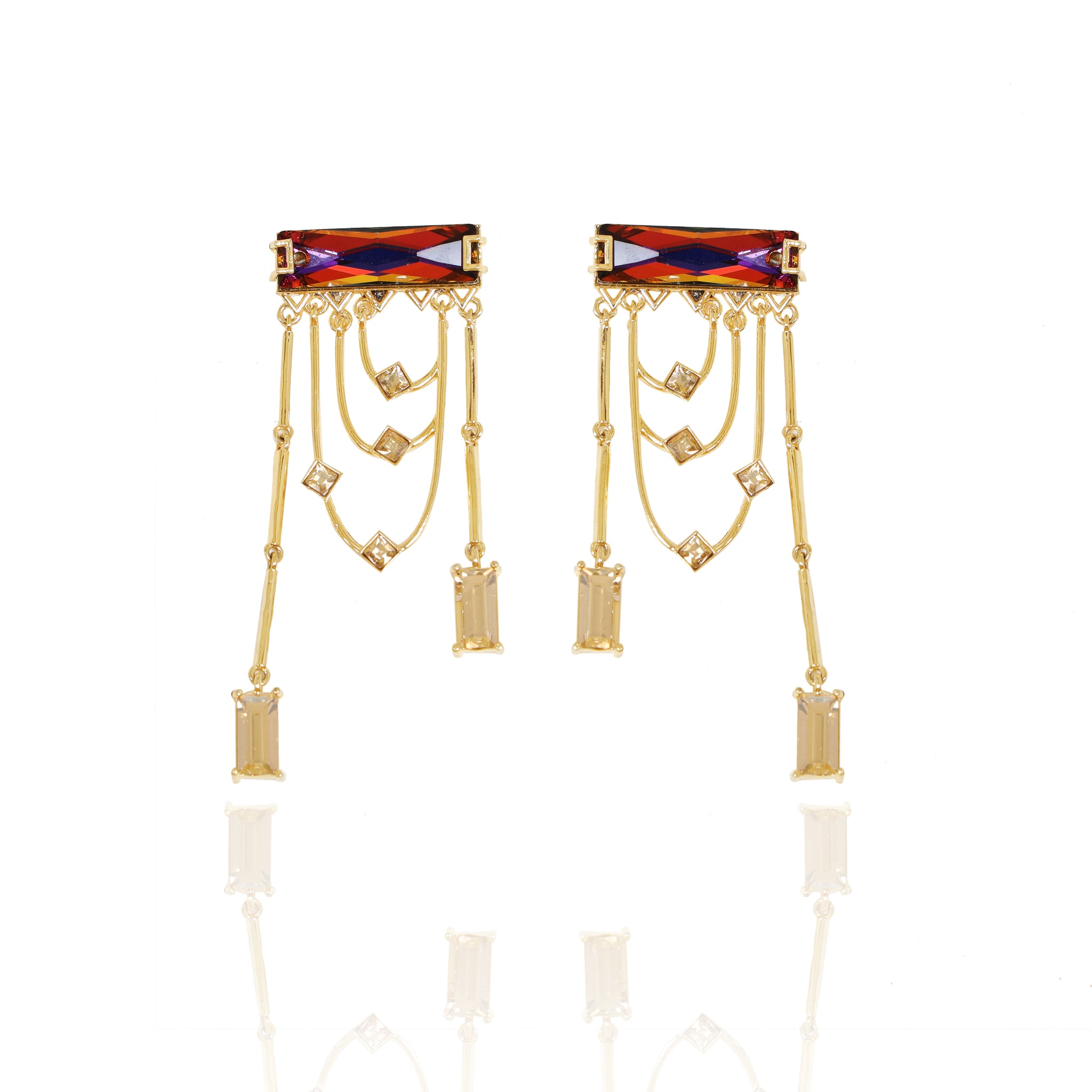 Multi-Gold Tango Swarovski Crystal Earrings