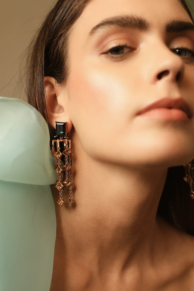 Smoky Quartz & Gold Kathak Chandelier Earrings