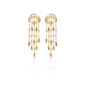 White Rumba Swarovski Dangler Earrings