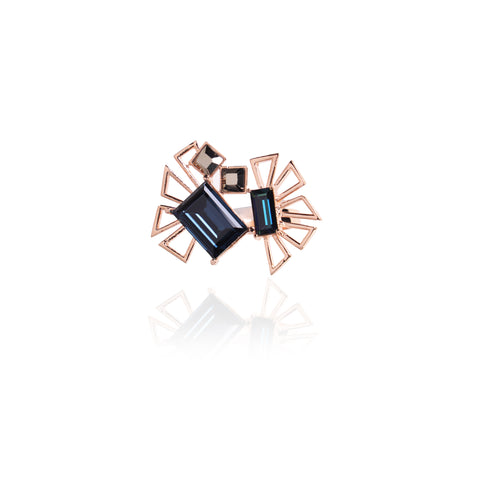 Blue In Rose-Gold Mambo Swarovski Crystal Ring