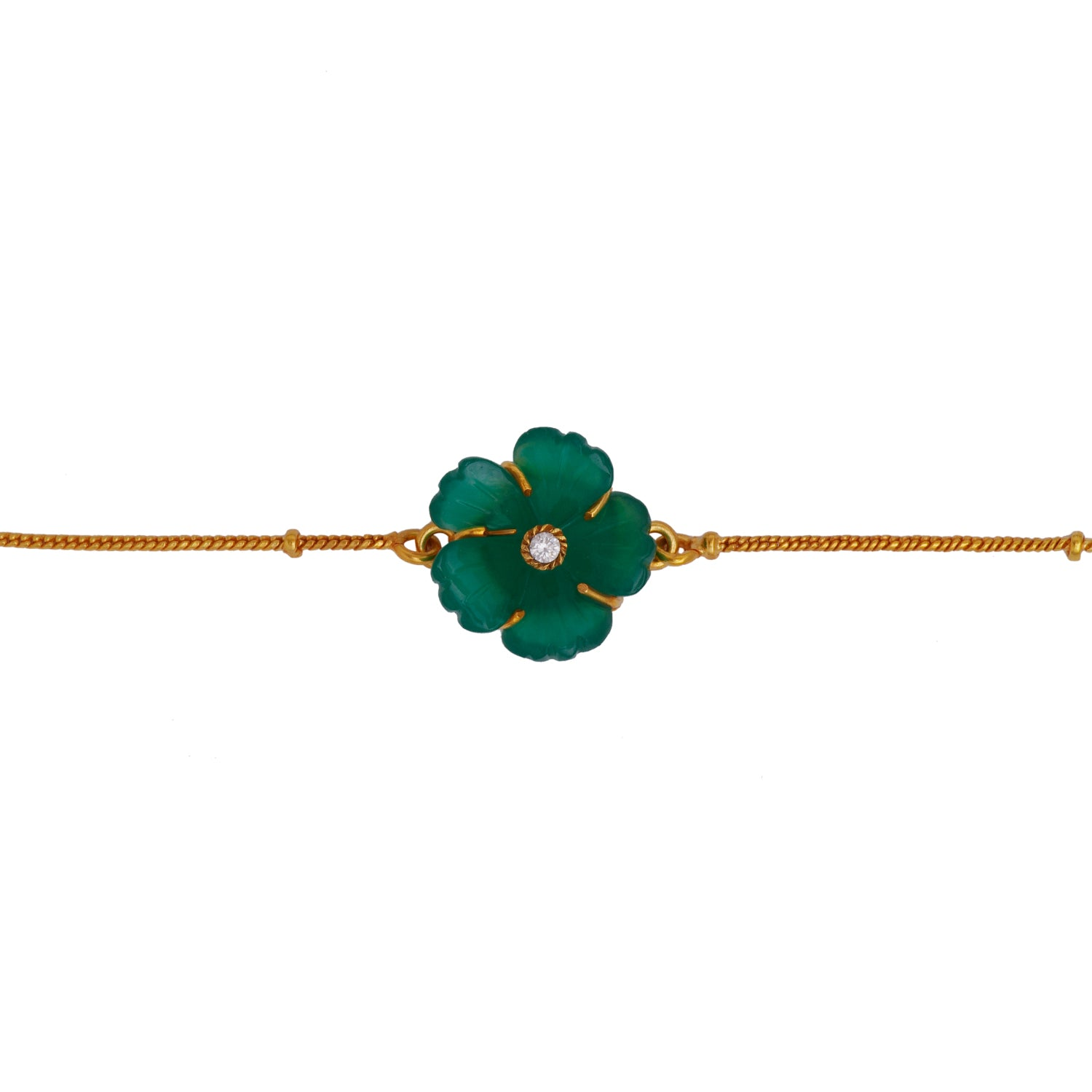 Green Carved Flower Brass Bracelet