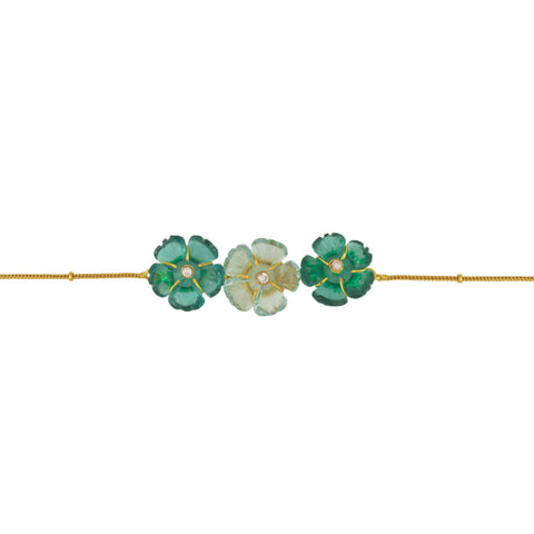 Teal Trio Flower Brass Bracelet