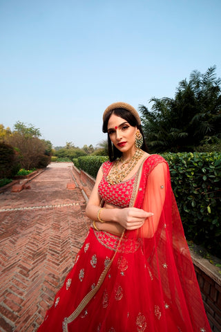 Red Amomone Flower Scattered Organza Lehenga