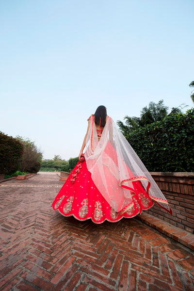 Red Anomone Flower Embroidered Rawsilk Lehenga