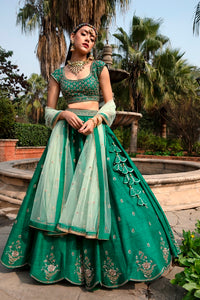 Forest Green Anomone Flower Bouquet Embroidered Rawsilk Lehenga