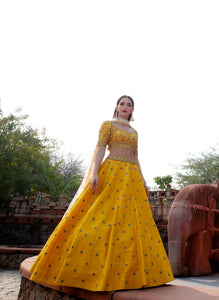 Yellow Anomone Star Buta Embroidered Rawsilk Lehenga