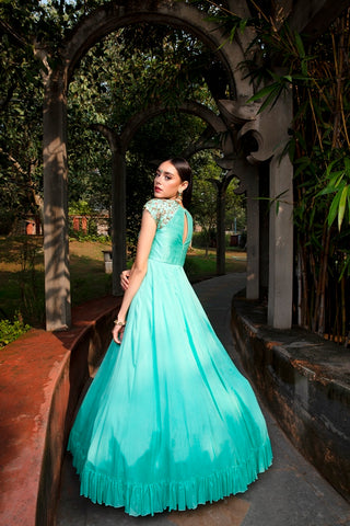 Mint Anomone Jaal Embroidered Georgette Frill Dress