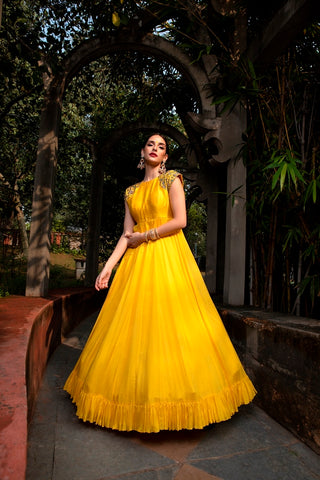 Yellow Anomone Jaal Embroidered Geogette Frill Dress