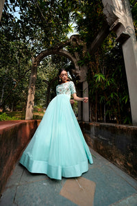 Ice Blue Embroidered Anarkali