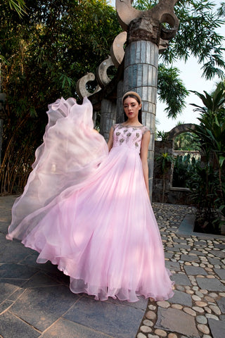 Baby pink Anomone Flower Buta Embroidered Organza Dress