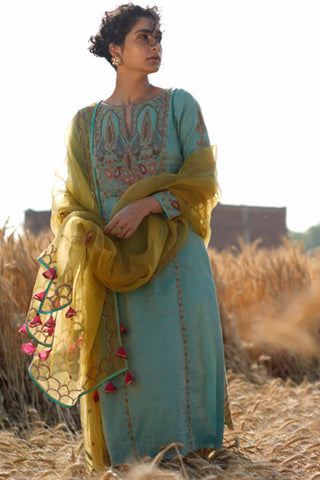 Powder Blue Zardozi Embroidered Kurta With Self Strip Sharara & Hand Embroidered Dupatta