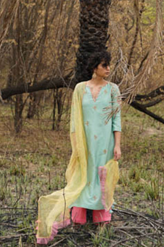 Powder Blue Zardozi Embroidered Chanderi Kurta With Self Strip Embroidered Palazzo & Dupatta