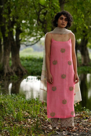 Pink Self Strip Hand Embroidered Kurta With Tissue Embroidered Palazzo & Organza Dupatta