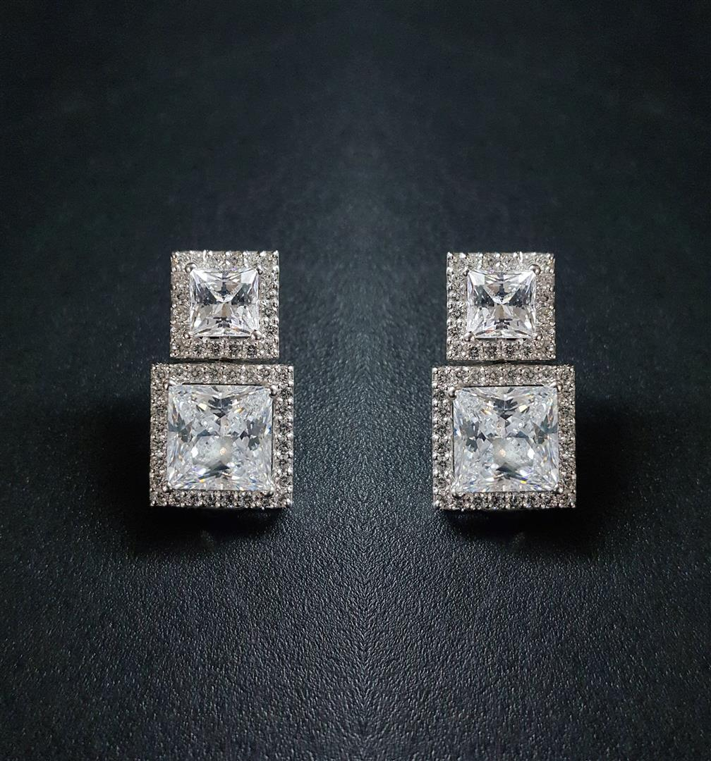 White Princess Cut Swarovski Zirconia Sterling Silver Earrings