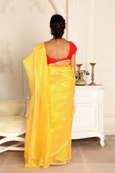 Bright Yellow Chanderi Silk Saree