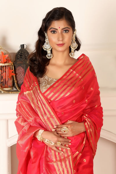 Red Chanderi Silk Saree