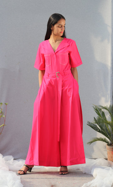 Pink Cotton Jumpsuit