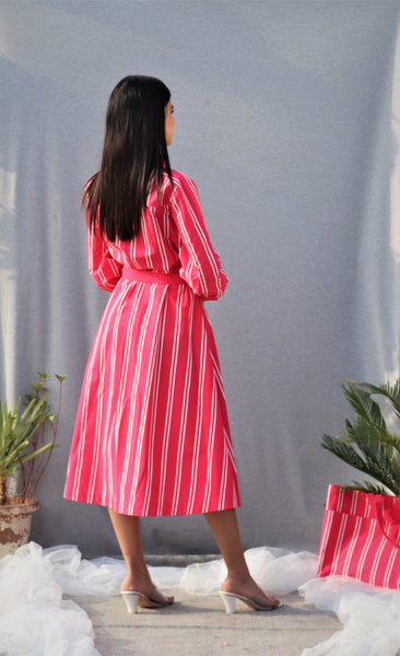Pink Cotton Button Down Dress