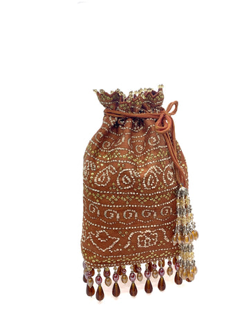 Rust Bandhani Printed Sequin & Crystal Highlighted Potli With Detachable Metal Chain