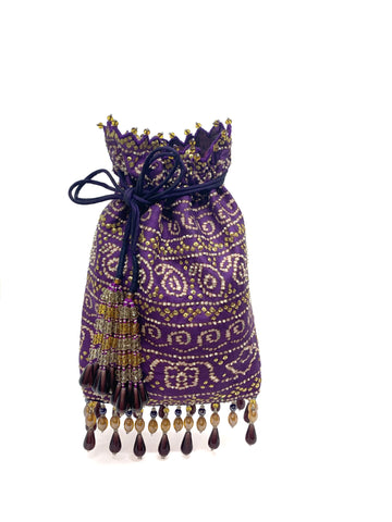 Purple Bandhani Printed Sequin & Crystal Highlighted Potli With Detachable Metal Chain