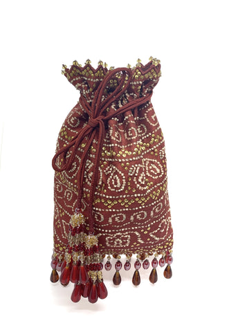 Maroon Bandhani Printed Sequin & Crystal Highlighted Potli With Detachable Metal Chain