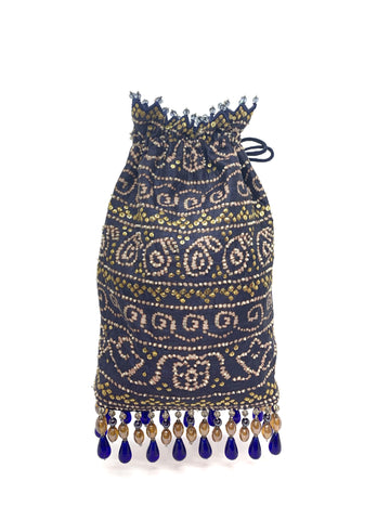 Blue Bandhani Printed Sequin & Crystal Highlighted Potli With Detachable Metal Chain