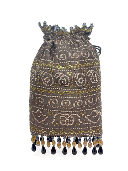 Taupe Bandhani Printed Sequin & Crystal Highlighted Potli With Detachable Metal Chain