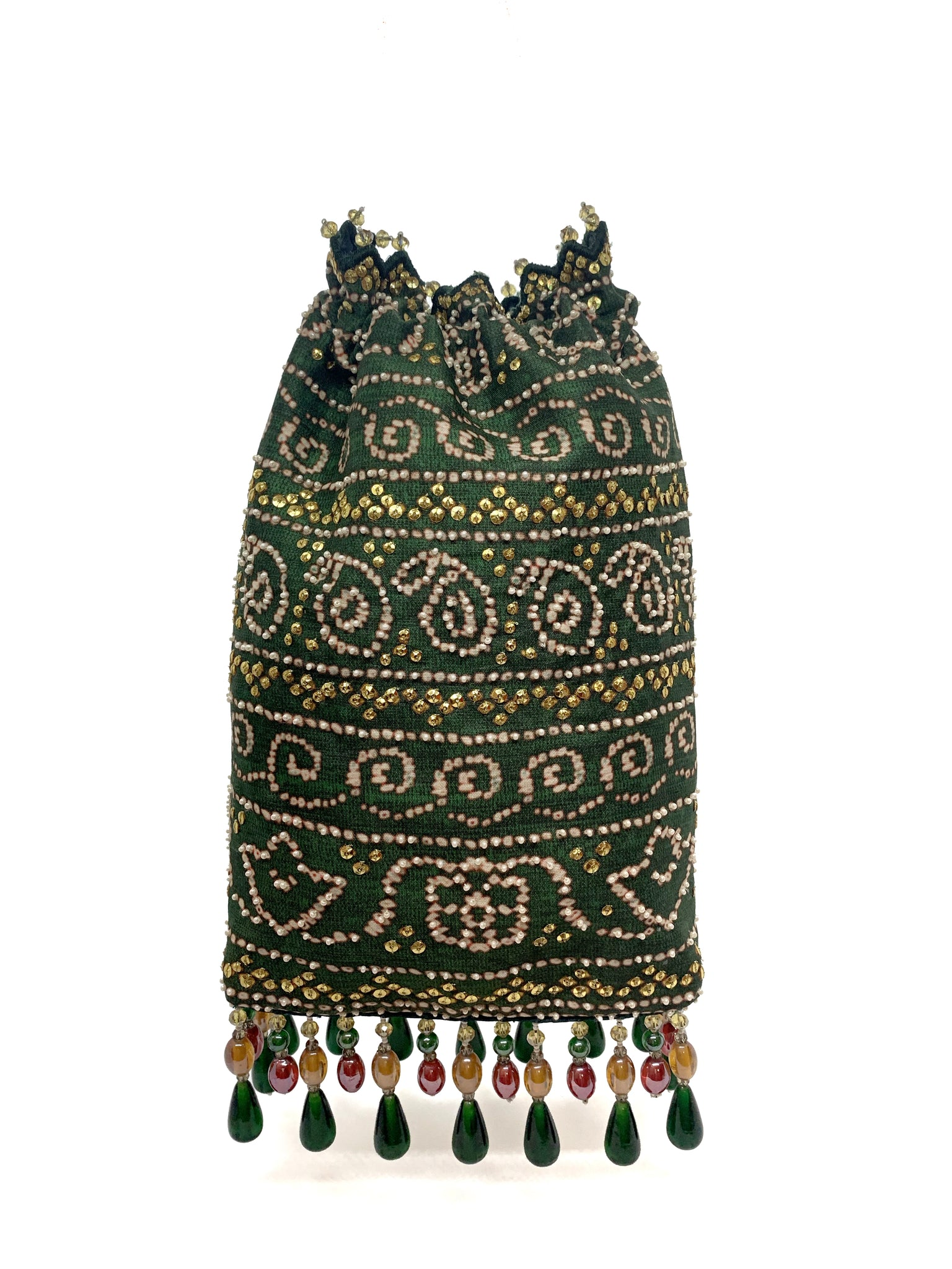 Green Bandhani Printed Sequin & Crystal Highlighted Potli With Detachable Metal Chain
