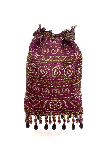 Pink Bandhani Printed Sequin & Crystal Highlighted Potli With Detachable Metal Chain