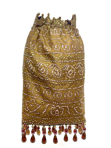 Mustard Bandhani Printed Sequin & Crystal Highlighted Potli With Detachable Metal Chain