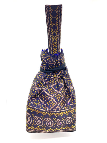 Navy Blue Bandhani Printed & Swarvoski Crystal Highlighted Potli With Detachable Wrist Strap