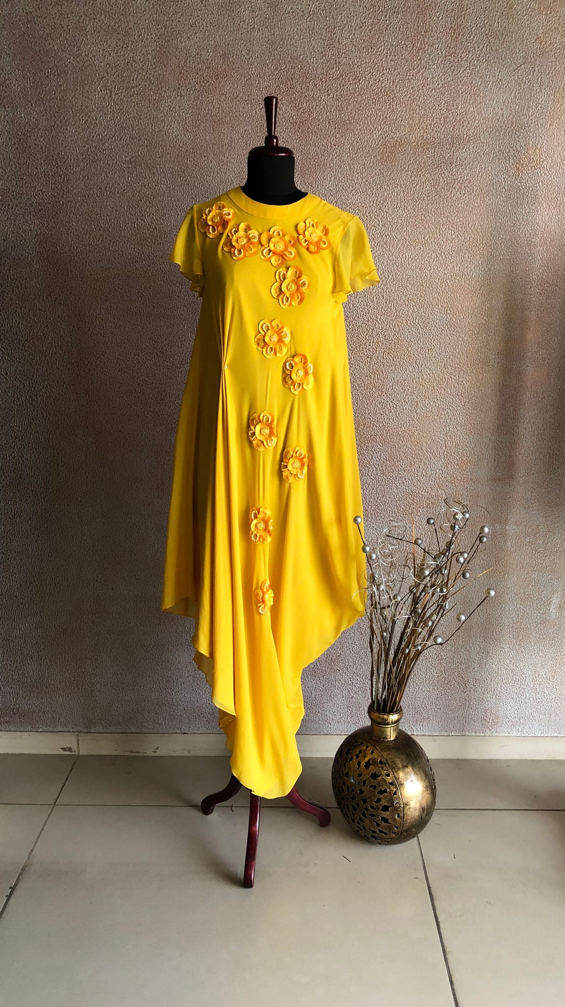 URVASHI JONEJA - 3D Embellished Yellow Dress