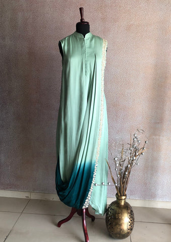 ALAM - Two Tone Green Drape Dress