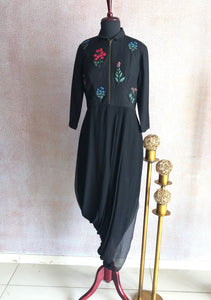 Black Embroidered Cowl Dress