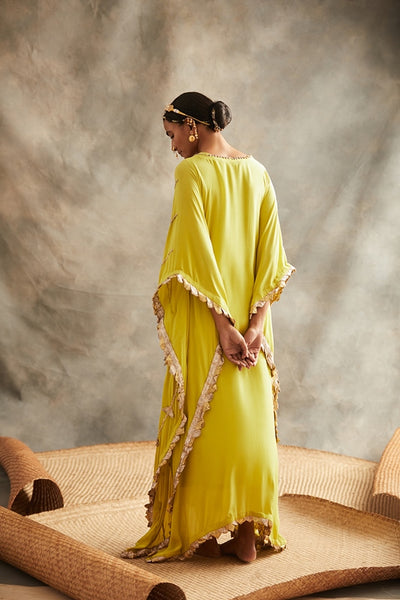 Lime Green Free Flowing Kaftan With Pure Lampi Stripes & Triangles